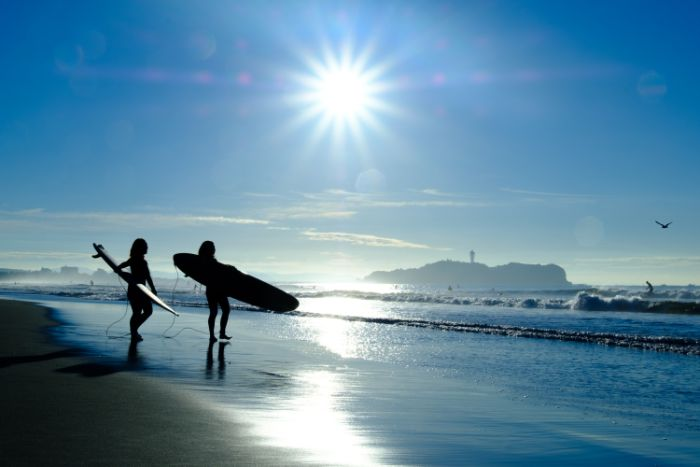 beach and surfers